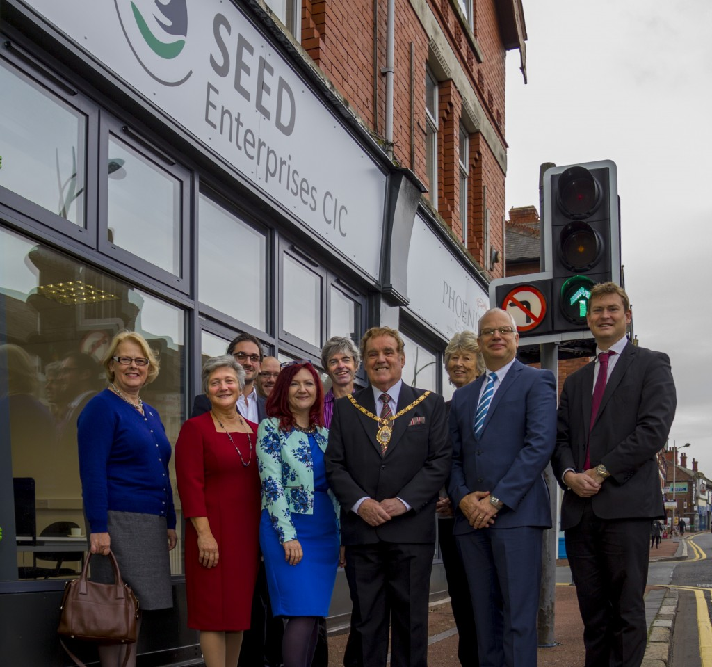 Councillor Eveleigh Moore Dutton, Geri Stewart, Rob Stewart, Val Horbaczewski, Jochem Hollestelle (CWAC), Mayor of Ellesmere Port, Councillor Brian Jones, Councillor Brenda Dowding, Steve Horbaczewski, and Councillor Justin Madders at the official opening of Seed.