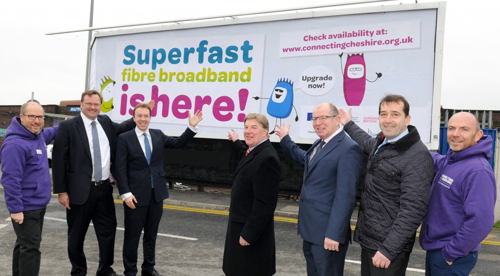 Pictured with the Connecting Cheshire Fibre Guys billboard are L-R:   Andrew Arditti – Connecting Cheshire; Stephen Mosley – MP Chester; Matthew Hancock MP - Minister of State for Business and Enterprise; Cllr Stuart Parker – Cheshire West and Chester Council; Kieran Charleson – BT Partnership Director; Mark Hart – OCTO and Steve Travers – BT.