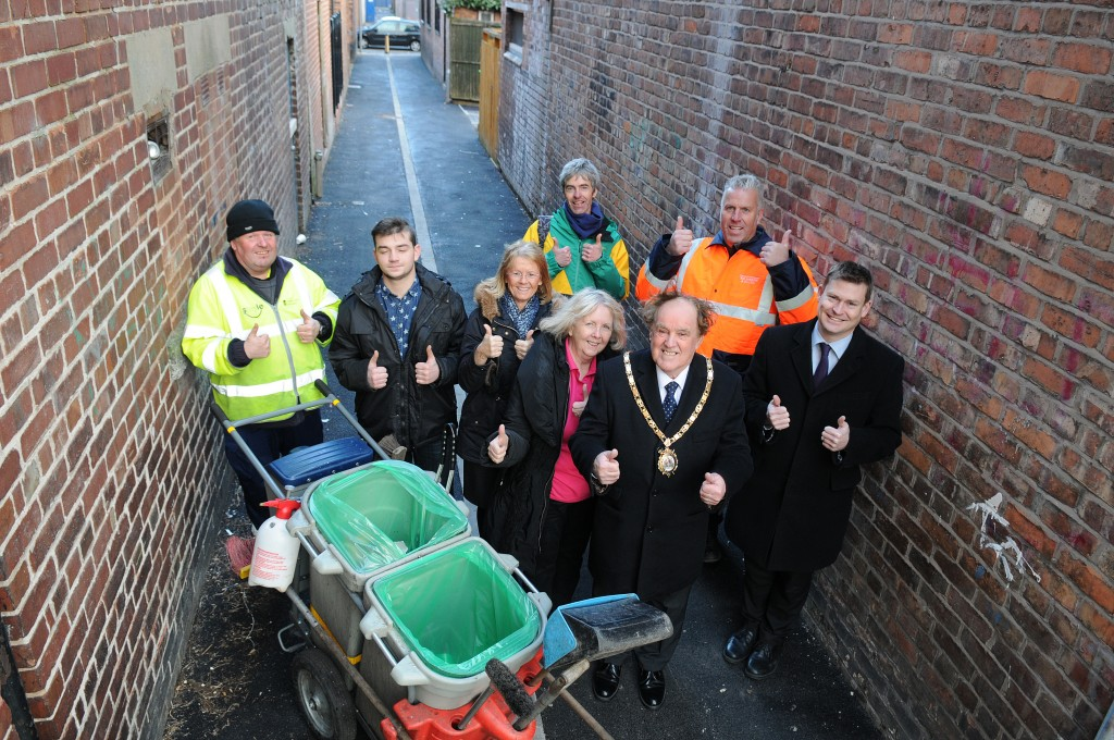 From left to right: Bernie Morris - CWAC Streetscene, Joshua Browse - The Uniform Shop, local landlord Julie Simpson, Elisabeth Featherstone - Party Place, town centre improvement manager Jochem Hollestelle, Mayor of Ellesmere Port Councillor Brian Jones, contractor Richard Parsons and local ward Councillor, Justin Madders.